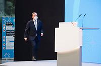 DEU, Deutschland, Germany, Berlin, 30.03.2021: Armin Laschet, Ministerpräsident von Nordrhein-Westfalen und CDU-Bundesvorsitzender, bei  einer Rede im Konrad-Adenauer-Haus zu Beginn der Beteiligungskampagne für das Wahlprogramm der CDU.