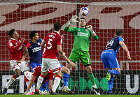 Middlesbrough's Marcus Bettinelli saves from Preston North End's Jordan Storey<br /> <br /> Photographer Alex Dodd/CameraSport<br /> <br /> The EFL Sky Bet Championship - Middlesbrough v Preston North End - Tuesday 16th March 2021 - Riverside Stadium - Middlesbrough<br /> <br /> World Copyright © 2021 CameraSport. All rights reserved. 43 Linden Ave. Countesthorpe. Leicester. England. LE8 5PG - Tel: +44 (0) 116 277 4147 - admin@camerasport.com - www.camerasport.com