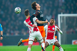 Joel Veltman #3 of Ajax and Sam Lammers #14 of PSV Eindhoven in action during the match between Ajax and PSV at Johan Cruyff Arena on February 02, 2020 in Amsterdam, Netherlands