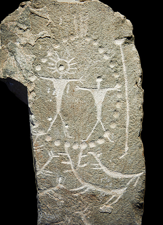 """Prehistoric  petroglyphs, rock carvings, carved by the the prehistoric Camuni people in the Copper Age around the 3rd milleneum BC, Stele """"Cemmo 4"""" excavated in 1984 from the prehistoric sanctuary Massi dei Cemmo Archaeological Site. Museo Nazionale della Preistoria della Valle Camonica ( National Museum of Prehistory in Valle Cominca ), Lombardy, Italy. Black Background .<br /> <br /> Visit our PREHISTORY PHOTO COLLECTIONS for more   photos  to download or buy as prints https://funkystock.photoshelter.com/gallery-collection/Prehistoric-Neolithic-Sites-Art-Artefacts-Pictures-Photos/C0000tfxw63zrUT4<br /> If you prefer to buy from our ALAMY PHOTO LIBRARY  Collection visit : https://www.alamy.com/portfolio/paul-williams-funkystock/valcamonica-rock-art.html .<br /> <br /> If you prefer you can also buy from our ALAMY PHOTO LIBRARY  Collection visit : https://www.alamy.com/portfolio/paul-williams-funkystock/valcamonica-rock-art.html<br /> Visit our PREHISTORIC PLACES PHOTO COLLECTIONS for more  photos to download or buy as prints https://funkystock.photoshelter.com/gallery-collection/Prehistoric-Neolithic-Sites-Art-Artefacts-Pictures-Photos/C0000tfxw63zrUT4"""