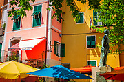 Colorful houses and the Monument to the Fallen, Corniglia, Cinque Terre, Liguria, Italy