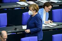 08 DEC 2020, BERLIN/GERMANY:<br /> Angela Merkel, CDU, Bundeskanzlerin, mit Maske, Haushaltsdebatte, Plenum, Reichstagsgebaeude, Deuscher Bundestag<br /> IMAGE: 20201208-02-087<br /> KEYWORDS: Mund-Nase-Schutz, Corona, Corvid-19