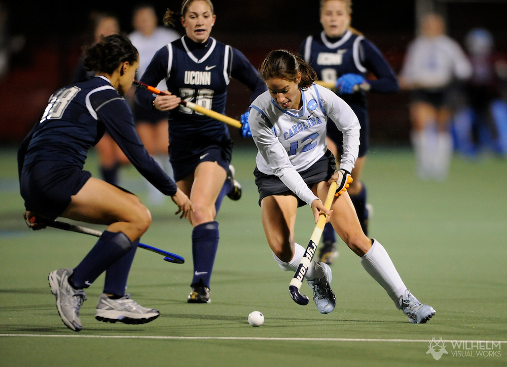 16 NOV 2007: Britt van Beek (12) of the University of North Carolina - Chapel Hill battles Jennifer Kleinhans (18) of University of Connecticut during the second half of the Division I Women's Field Hockey semifinals on the campus of the University of Maryland in College Park, MD.  North Carolina defeated Connecticut 4-2 to advance to the championship game. ©© Brett Wilhelm