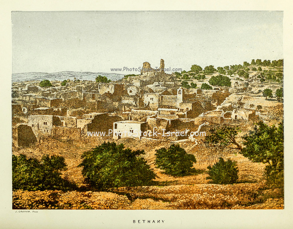 Bethany from the book Scenes in the East : consisting of twelve coloured photographic views of places mentioned in the Bible, with descriptive letter-press. By Tristram, H. B. (Henry Baker), 1822-1906; Published by the Society for Promoting Christian Knowledge (Great Britain) in London in 1872