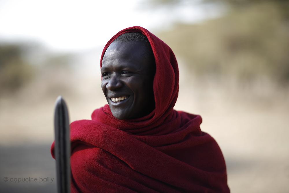 TANZANIA. Gols Mountains. August 11th 2009..A Maasai man