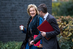 © Licensed to London News Pictures. 05/12/2017. London, UK. Leader of the House of Commons Andrea Leadsom and Defence Secretary Gavin Williamson arriving in Downing Street to attend a Cabinet meeting this morning.Yesterday, Brexit negotiations on the Northern Ireland border were stalled when Arlene Foster of the DUP said she could not support commitment to keep Northern Ireland aligned with EU laws. Photo credit : Tom Nicholson/LNP