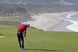 June 11, 2019 - Pebble Beach, CA, U.S. - PEBBLE BEACH, CA - JUNE 11: PGA golfer Martin Kaymer plays the 9th hole during a practice round for the 2019 US Open on June 11, 2019, at Pebble Beach Golf Links in Pebble Beach, CA. (Photo by Brian Spurlock/Icon Sportswire) (Credit Image: © Brian Spurlock/Icon SMI via ZUMA Press)