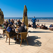 Open terrace of cafe on Jurmala beach, Latvia