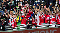 Football - 2017 FA Cup Final - Arsenal vs. Chelsea<br /> <br /> Per Mertesacker of Arsenal lifts the trophy at Wembley.<br /> <br /> COLORSPORT/DANIEL BEARHAM