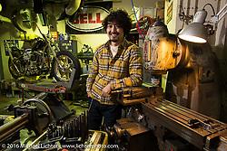 Cherry's Company master builder Kaichiroh Kurosu and his custom Shovelhead entry into the Mooneyes Yokohama Hot Rod & Custom Show in his Tokyo, Japan shop. December 6, 2016.  Photography ©2016 Michael Lichter.