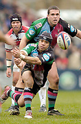 2004/05 Zurich Premiership,NEC Harlequins vs Gloucester, The Stoop,Twickenham, ENGLAND:<br />Quins scrum half Steve So'oialo, moves the ball out from the scrum as Quins No. 8 Tony Diprose look's on.<br /><br />Photo  Peter Spurrier. <br />email images@intersport-images
