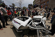 KATHMANDU, NEPAL - APRIL 29: (CHINA OUT) <br /> <br /> Rescue Operations Continue Following Devastating Nepal Earthquake<br /> <br /> A car is smashed deformation in earthquake area on April 29, 2015 in Kathmandu, Nepal. A major 7.8 earthquake hit Kathmandu mid-day on Saturday, and was followed by multiple aftershocks that triggered avalanches on Mt. Everest that buried mountain climbers in their base camps. Many houses, buildings and temples in the capital were destroyed during the earthquake, leaving thousands dead or trapped under the debris as emergency rescue workers attempt to clear debris and find survivors. Regular aftershocks have hampered recovery missions as locals, officials and aid workers attempt to recover bodies from the rubble.<br /> ©Exclusivepix Media