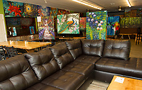The art room adjacent to Karma Cafe part of Riverbank House.  (Karen Bobotas/for the Laconia Daily Sun)