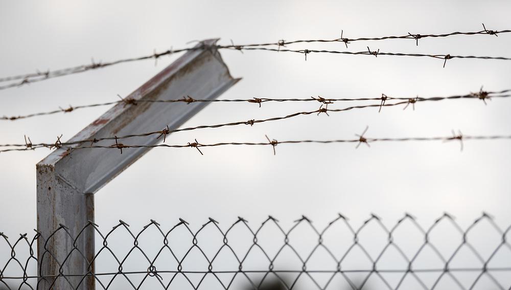 20 February 2020, Umm el Jimal, Jordan: Barbed wire fence.