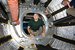 August 3, 2017 - Space - Released Today: NASA astronaut RANDY BRESNIK looks through the hatch of the ISS Bigelow Expandable Aerospace Module (BEAM) on July 31, 2017. He shared this photo on social media on August 2, commenting, 'Ever wonder how you look when you enter a new part of a spacecraft? Well, this is it.  First time inside the expandable BEAM module.' The BEAM is an experimental expandable module launched to the station aboard SpaceX's eighth commercial resupply mission on April 8, 2016, and fully expanded and pressurized on May 28. (Credit Image: ? NASA/ZUMA Wire/ZUMAPRESS.com)