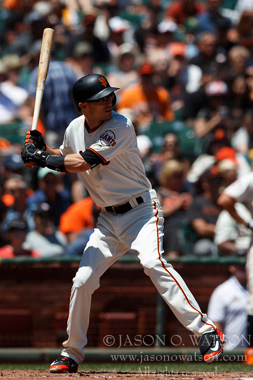 SAN FRANCISCO, CA - JULY 15: Kelby Tomlinson #37 of the San Francisco Giants at bat against the Oakland Athletics during the third inning at AT&T Park on July 15, 2018 in San Francisco, California. The Oakland Athletics defeated the San Francisco Giants 6-2. (Photo by Jason O. Watson/Getty Images) *** Local Caption *** Kelby Tomlinson