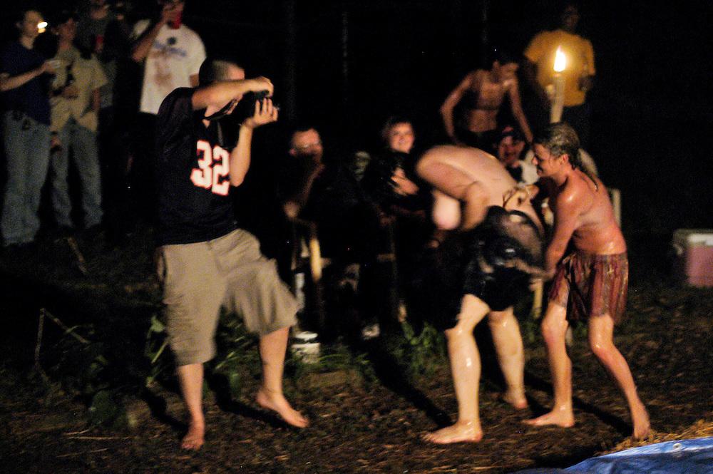 (photo by Matt Roth).Sunday, July 18, 2004.Atlanta, GA..Backyard lesbian pudding wrestling!