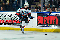 KELOWNA, BC - FEBRUARY 17: Alex Swetlikoff #17 of the Kelowna Rockets skates with the puck against the Calgary Hitmen at Prospera Place on February 17, 2020 in Kelowna, Canada. (Photo by Marissa Baecker/Shoot the Breeze)