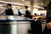 Rush hour in the subway in Tokyo.
