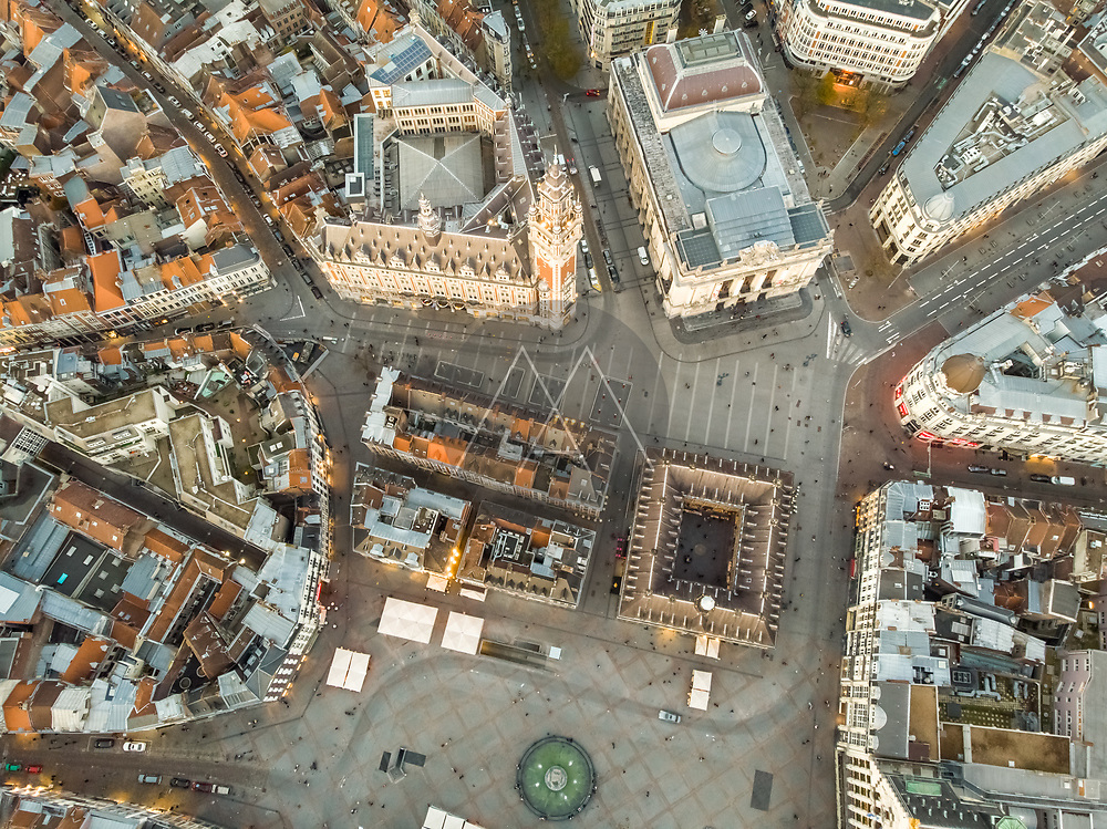Aerial view of Lille historical downtown in France.