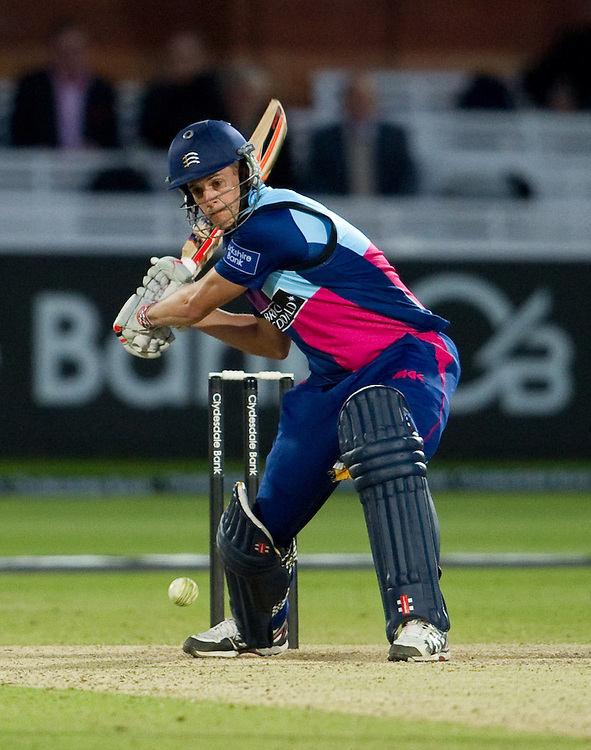 Middlesex Panthers' Neil Dexter prepares to despatch the ball to the boundary against Somerset<br /> <br />  (Photo by Ashley Western/CameraSport) <br /> <br /> County Cricket - Yorkshire Bank 40 - Group C - Middlesex Panthers v Somerset - Tuesday 4th June 2013 - Lords - London<br /> <br /> © CameraSport - 43 Linden Ave. Countesthorpe. Leicester. England. LE8 5PG - Tel: +44 (0) 116 277 4147 - admin@camerasport.com - www.camerasport.com