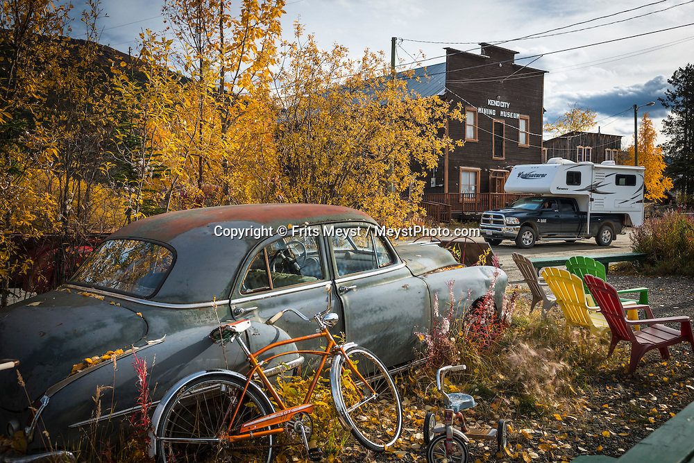 Keno City, Yukon Territory, Canada, September 2014. Keno City was founded when Silver was found in the area. Silver miners settled here and today it is a mix of historical buildings, old log cabins, rusting mining equipment and vintage cars.  With scenic drives in abundance, the Yukon Territory is a driver's dream. The territory boasts a network of well-maintained highways leading through an exhilarating combination of postcard scenery, historic communities, cultural attractions and adventure outings.The Yukon Territory received world fame during the Klondike Gold Rush in 1898.  Photo by Frits Meyst / MeystPhoto.com