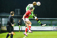 Delano Sam-Yorke wins a header during the The County Cup match between Forest Green Rovers and Bristol City at the New Lawn, Forest Green, United Kingdom on 23 November 2015. Photo by Shane Healey.