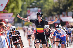 Jolien D'hoore wins sprint finish at Madrid Challenge by la Vuelta 2017 - a 87 km road race on September 10, 2017, in Madrid, Spain. (Photo by Sean Robinson/Velofocus.com)
