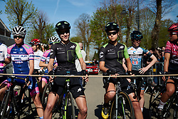 Marcella Toldi (BRA) and Kristabel Doebel-Hickok (USA) get a front row spot at La Flèche Wallonne Femmes 2018, a 118.5 km road race starting and finishing in Huy on April 18, 2018. Photo by Sean Robinson/Velofocus.com