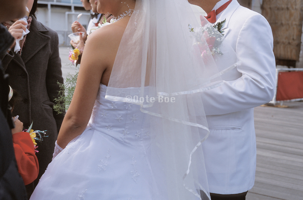 Detail of a bride and groom on their wedding day