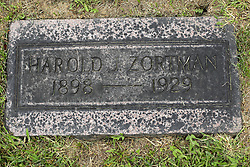 31 August 2017:   Veterans graves in Park Hill Cemetery in eastern McLean County.<br /> <br /> Harold Zortman 1893 1929