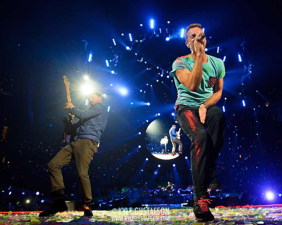 WASHINGTON, DC - July 9th, 2012 - Chris Martin and Jonny Buckland of Coldplay perform at the Verizon Center in Washington, D.C. The band's 2011 album, Mylo Xyloto, reached number one in thirty countries. (Photo by Kyle Gustafson/For The Washington Post)