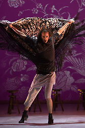 "© Licensed to London News Pictures. 20/02/2015. London, England. Hugo Lopez performing. Pictured: Ballet Flamenco de Andalucía perform ""Las Cuatro Esquinas"" from their production ""Images: 20 Years"" during the Flamenco Festival London 2015 at Sadler's Wells Theatre. The show runs from 20-21 February with the festival running from 16 February to 1 March 2015.  Photo credit: Bettina Strenske/LNP"