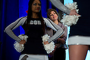 UConn President Susan Herbst looks on during the Alumni Association pep-rally at the Hyatt Regency in Dallas, Texas before watching her school compete in the NCAA Final Four on April 5, 2014. (Cooper Neill / for The New York Times)