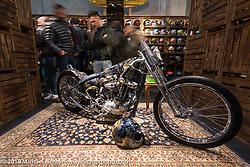 Andrea Radaelli's Radikal Choppers' custom Ironhead in the 70's Company display at Motor Bike Expo. Verona, Italy. Friday January 19, 2018. Photography ©2018 Michael Lichter.
