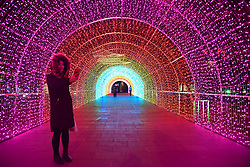 February 5, 2018 - Hohhot, China - The 60-meter-long rainbow tunnel can be seen at Dazhao Square in Hohhot, north China's Inner Mongolia. (Credit Image: © SIPA Asia via ZUMA Wire)