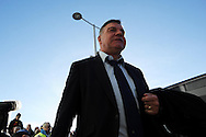 West Ham manager Sam Allardyce arrives off team bus. Barclays Premier league, Cardiff city v West Ham Utd match at the Cardiff city Stadium in Cardiff, South Wales on Saturday 11th Jan 2014.<br /> pic by Andrew Orchard, Andrew Orchard sports photography.