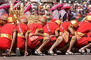 "The Sapa Inca litter bearers with the golden throne. Inti Raymi ""Festival of the Sun"", Plaza de Armas, Cusco, Peru."