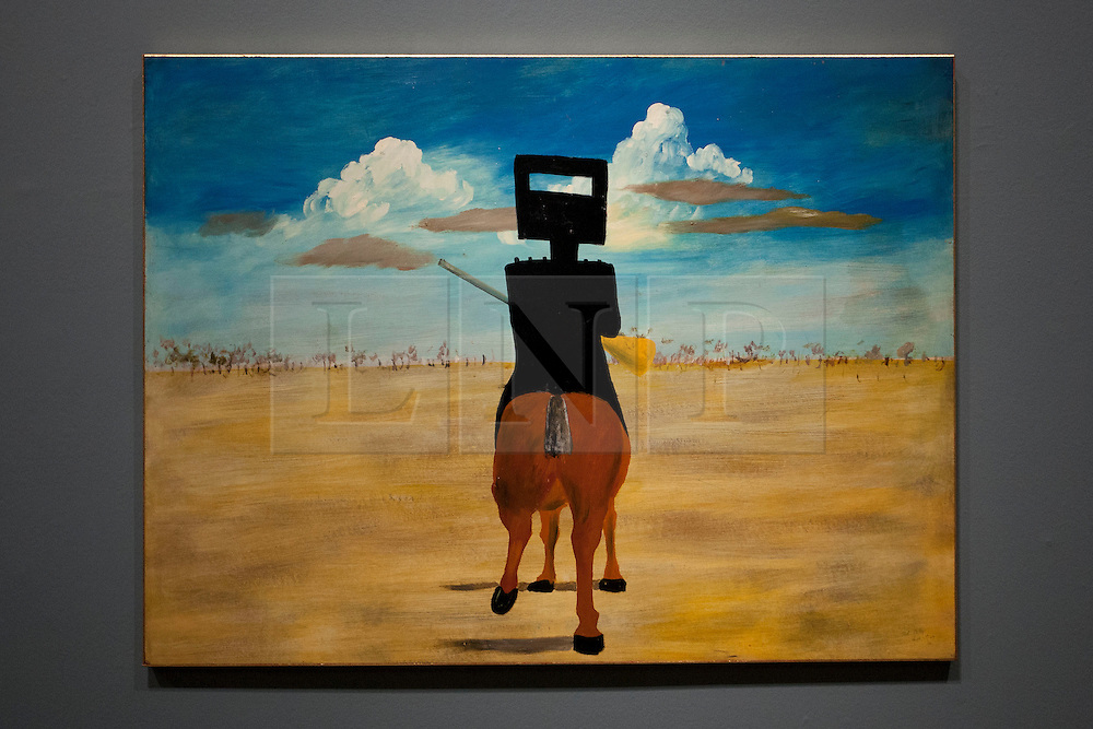 © Licensed to London News Pictures. 17/09/2013. London, UK. 'Ned Kelly' (1946), part of the iconic series of paintings by Australian artist Sidney Nolan portraying the Australian outlaw, is seen at the press view for the Royal Academy of Arts latest exhibition 'Australia' in London today (17/09/2013). The exhibition, said to be the most significant survey of Australian art ever mounted in the UK, spans more than 200 years, from 1800 to the present, and runs from the 21st of September to the 8th of December 2013. Photo credit: Matt Cetti-Roberts/LNP