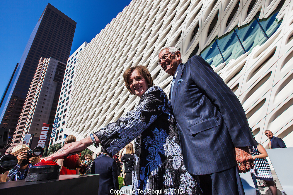Eli Broad and his wife Edythe.<br /> A civic dedication and ribbon-cutting ceremony held for The Broad museum in downtown Los Angeles. <br /> The $140 million dollar museum will house the Broad art collections. The new building design is by architecture firm Diller Scofidio + Renfro. The three story tall building will also use 318 roof skylight monitors that let in diffused sunlight from the north. Admission will be free of charge to the public.