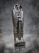 Ancient Egyptian greywacke sarcophagus lid of Ibi - late Period, 26th Dynasty (664-610BC). Egyptian Museum, Turin. white background<br /> <br /> Ibi was overseer of the priests of Thebes and chief steward of Nitocris, Divine Adoratrice of Amon during the reign of Psamtek I. The sarcophagus lid shows his hands emerging from a shroud to grasp the dfed-pillar, which allows him to rise to his feet again after resurrection. The lid weighs more than a ton and is finely sculpted. Despite the hardness of the greywacke stone the sarcophagus is made from, its makers have shown incredible skill creating a sarcophagus with intricate detail and a highly polished finish.