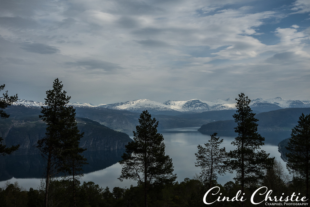 An overlook has views of Nordfjord and the mountains beyond Stryn, Norway, on May 18, 2013.   (© 2013 Cindi Christie)