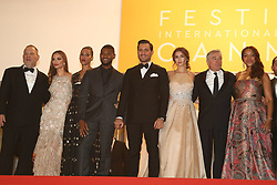 US producer Harvey Weinstein and his wife US actress Georgina Chapman, US actor Usher and his wife Grace Miguel, Cuban actress Ana de Armas, Venezuelan actor Edgar Ramirez, Venezuelan director Jonathan Jakubowicz and his wife Claudine Jakubowicz, US actor Robert de Niro and his wife Grace Hightower, boxer Roberto Duran pose with the General Delegate of the Cannes Film festival Thierry Fremaux at the Hands Of Stone Premiere during the annual 69th Cannes Film Festival at Palais des Festivals on May 16, 2016 in Cannes, France. Photo by Shootpix/ABACAPRESS.COM.  | 547104_068 Cannes France