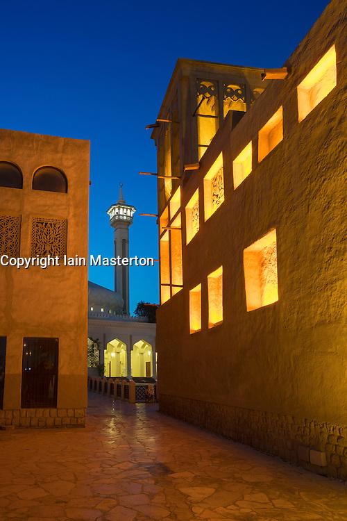 Evening view of Bastakiya in Al Fahidi traditional heritage area in Dubai United Arab Emirates