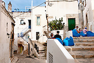 Outside bar in the  alleys and narrow streets of the white city of Ostuni, Puglia, South Italy.