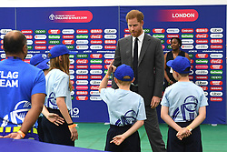 May 30, 2019 - London, London, United Kingdom - Image licensed to i-Images Picture Agency. 30/05/2019. London, United Kingdom. Prince Harry, The Duke of Sussex, with flag bearers and children at the opening match of the 2019 ICC Cricket World Cup between England and South Africa at The Oval in London. (Credit Image: © Pool/i-Images via ZUMA Press)