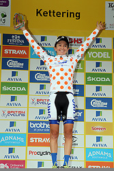 © Licenced to London 19/06/2016<br /> Kettering, Northamptonshire.UK. Strava Queen of the Mountains winner Katie Hall on the podium of final stage of the Aviva Women's Tour. Photo credit Steven Prouse/LNP