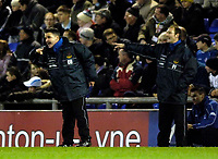 Photo: Jed Wee.<br />Oldham Athletic v Chasetown. The FA Cup. 16/11/2005.<br /><br />The Chasetown coaching team try to encourage their team.