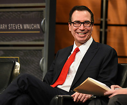 April 26, 2017 - Washington, District of Columbia, U.S. - U.S. Treasury Secretary STEVEN MNUCHIN speaks during a panel on 'Prospects for Tax  Reform' at the Newseum. U.S. Treasury Secretary Steven Mnuchin confirmed on  Wednesday that the administration proposes to cut the corporate tax rate to 15 percent from 35 percent in its long-awaited tax plan.  (Credit Image: © Bao  Dandan/Xinhua via ZUMA Wire)