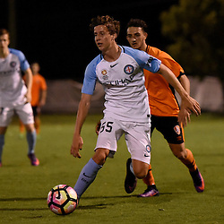 BRISBANE, AUSTRALIA - DECEMBER 22: Zachary Bates of Melbourne City passes the ball during the round 4 Foxtel National Youth League match between the Brisbane Roar and Melbourne City at AJ Kelly Field on December 22, 2016 in Brisbane, Australia. (Photo by Patrick Kearney/Brisbane Roar)